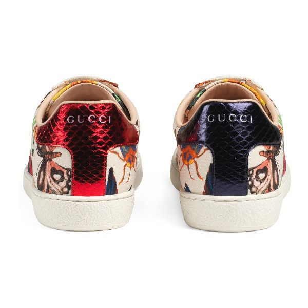 Gucci Garden Exclusive Ace Sneaker ($595) ❤ liked on Polyvore featuring shoes, sneakers, zapatillas, gucci trainers, flower pattern shoes, print shoes, print sneakers and gucci