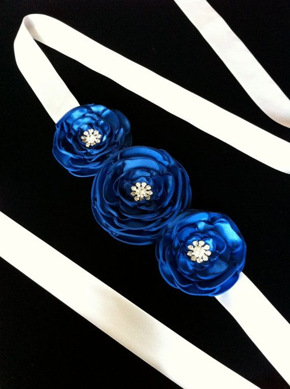 Ivory Satin Sash Belt with 3 Royal Blue by DESERTROSECOUTURE, $45.00