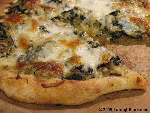 Swiss Chard Artichoke White Pizza...  works well with any sort of greens + sauted or roasted veggie (onion, fennel, etc)