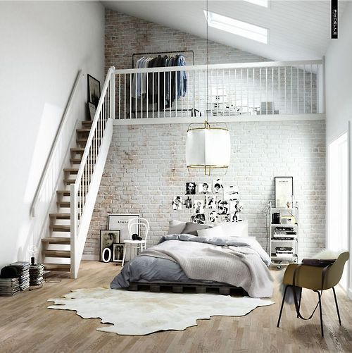 amazingly beautiful bedroom loft (via Pinterest)