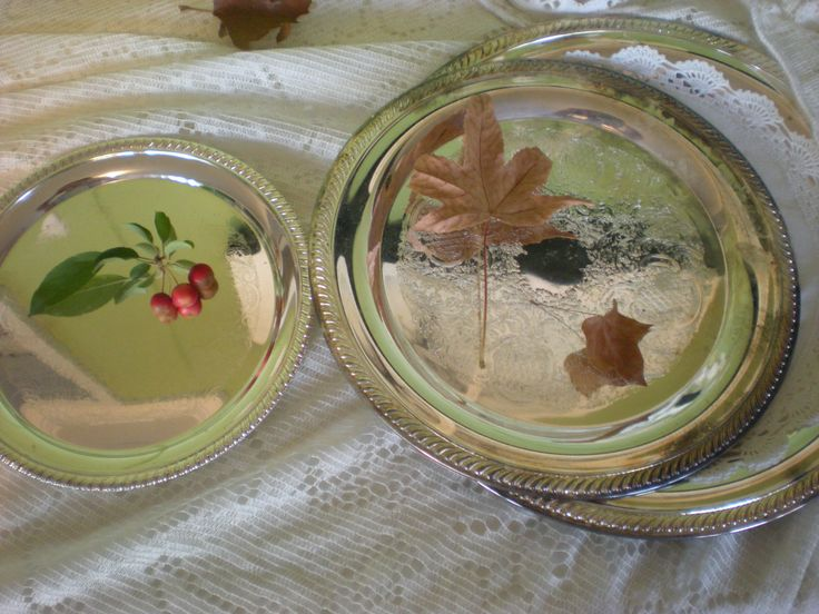 Vintage Silver Plate Trays, Set of 3, Wedding Cake Table, Mantle Display, Cookies, Fancy Serving Display, As-Is (small tarnish stains) by chloeswirl on Etsy