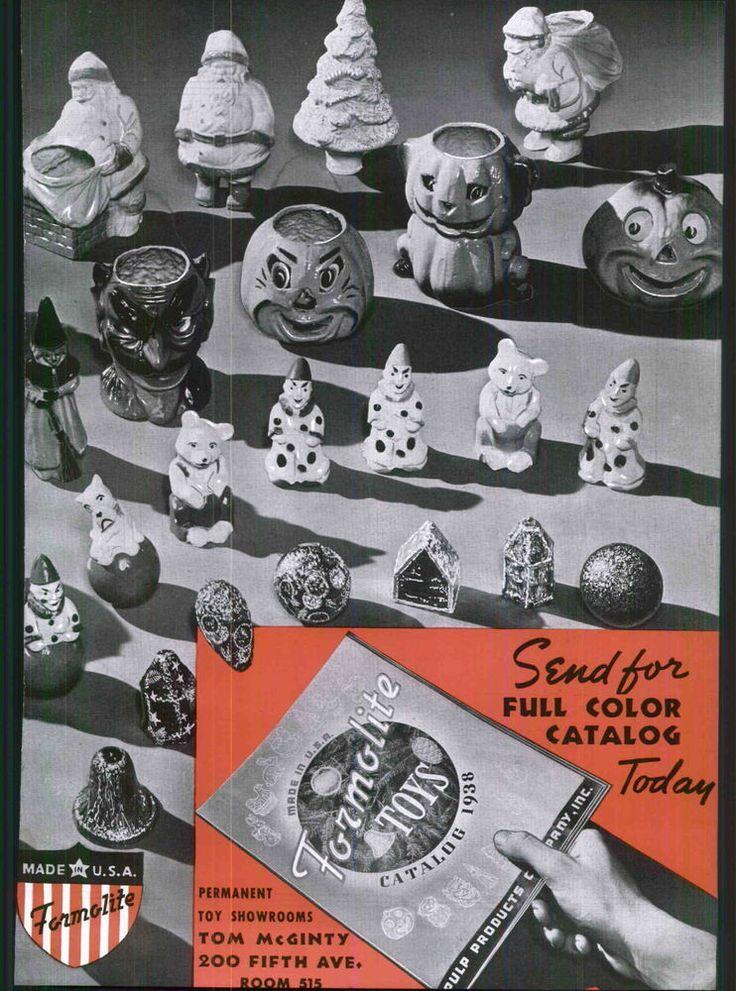 1938 ad 2 page formolite toys halloween devil pumpkin jack o lantern cat santa - Halloween Catalogs