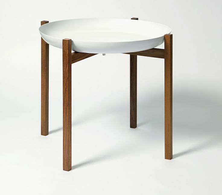 The White Tablo tray coffee table with wooden and timber teak legs is designed by Magnus Löfgren, and is decorative and useful at the same time. Can also be used as a side table, for plants, or as a set of tables in front of the sofa.
