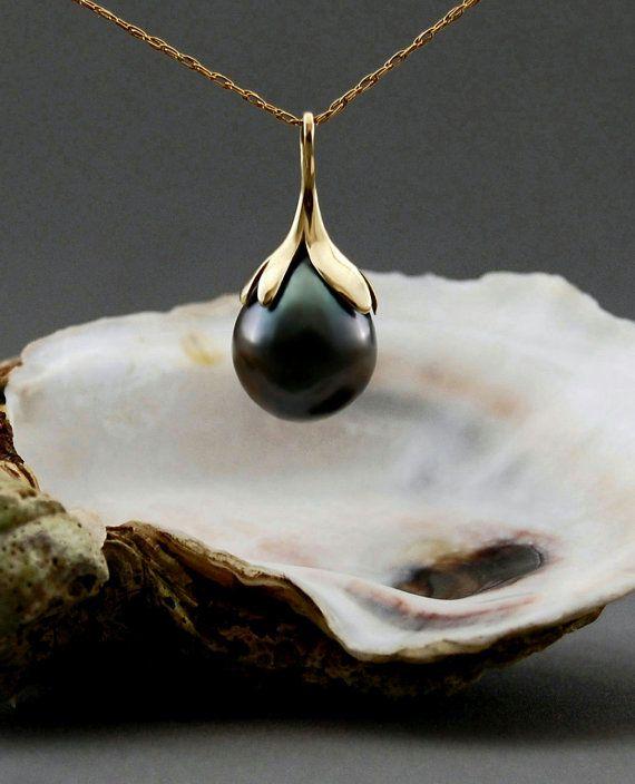 Rajani  Tahitian pearl pendant warm charcoal pearl by LusterWear