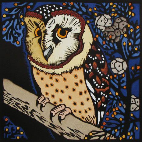 Kit Hiller ~ Masked Owl 2 (hand-coloured linocut)