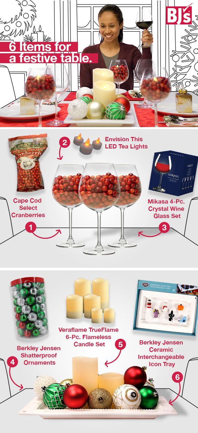 Inexpensive and simple holiday decor? Find it here: http://www.bjs.com/holiday-- seasonal.category.3000000000000127959.2002526?N=2002526 This DIY project is affordable and easy - with only six products, you can turn your plain table festive for the holidays.