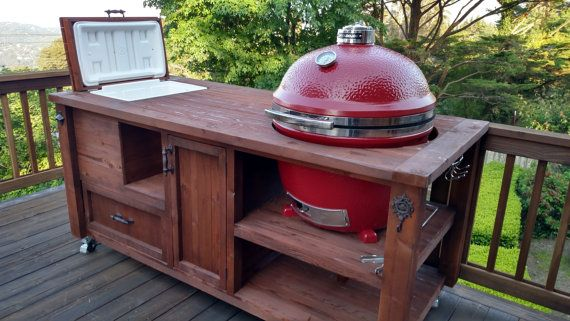 Grill & Chill Table Big Green Egg / Kamado Joe / Primo / Grill Cabinet with Cooler / Granite Prep Table  / Eggcessories