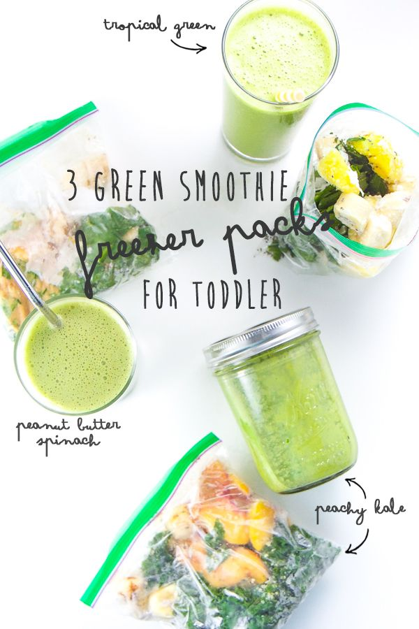3 green smoothie combinations that your toddler will love! Promise! With flavors like Tropical Green Smoothie, Peanut Butter Spinach Smoothie  and Peachy Kale Smoothie, it will be hard to decide which one to make  first. Good thing I am going to show you how to make them either  on-the-spot or w