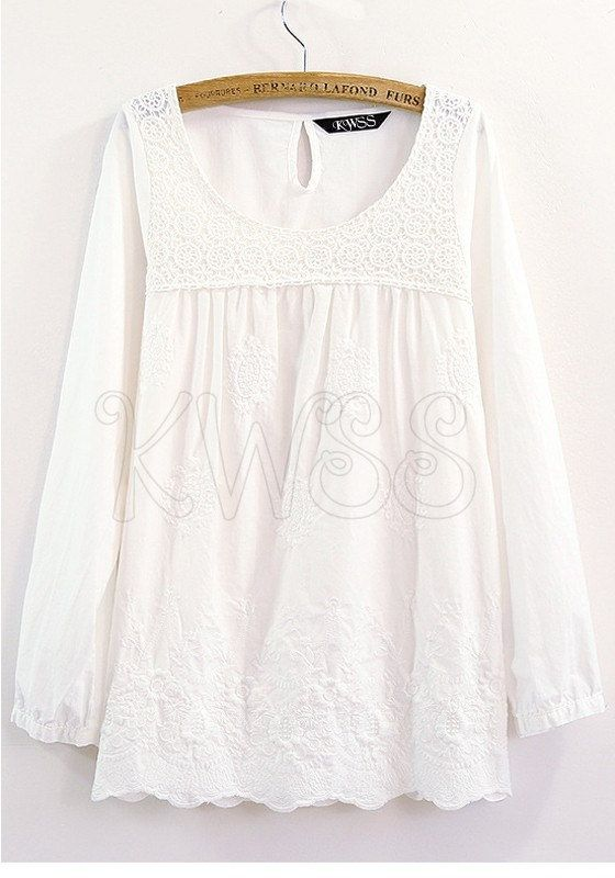 Patchwork Lace Blouse Long Sleeve Embroidered von KnotWhatSheSeams, $37.00