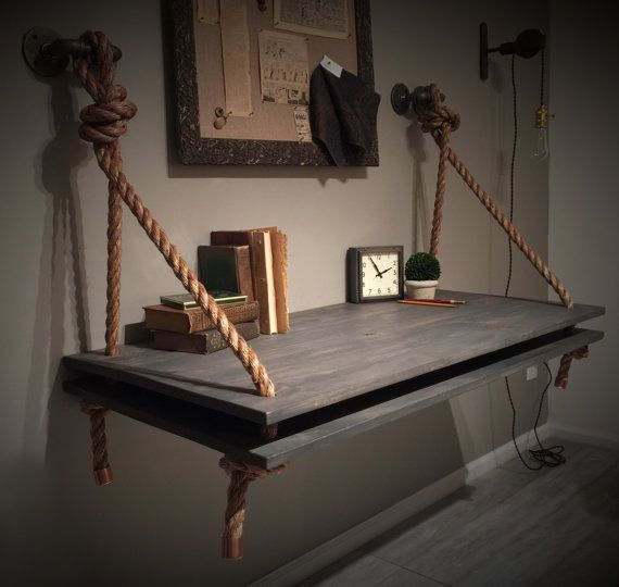 Industrial Rope & Pipe Suspended Wood Wall Mounted Standing Computer Desk…