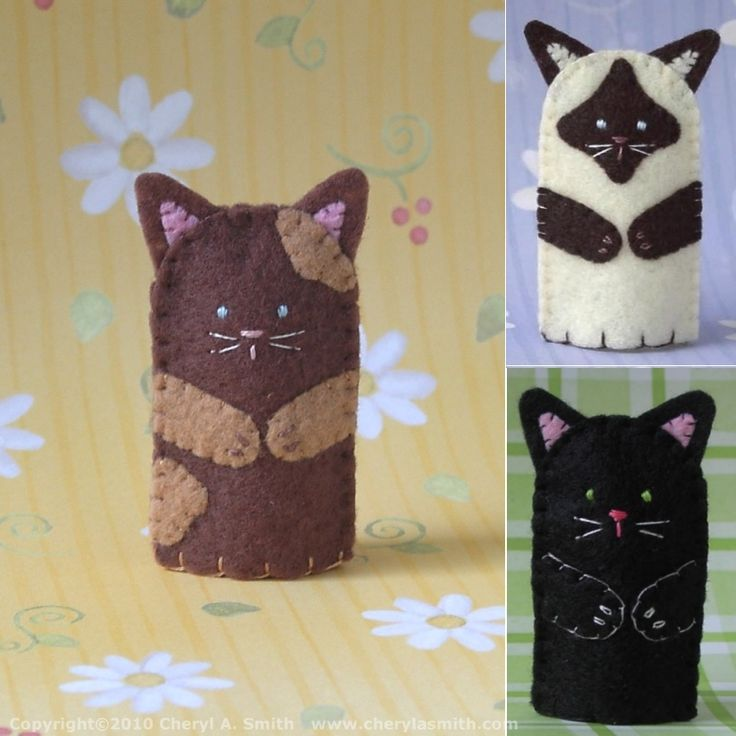 Free Cat Applique Patterns | images of kitty cat finger puppet handstitched felt wallpaper
