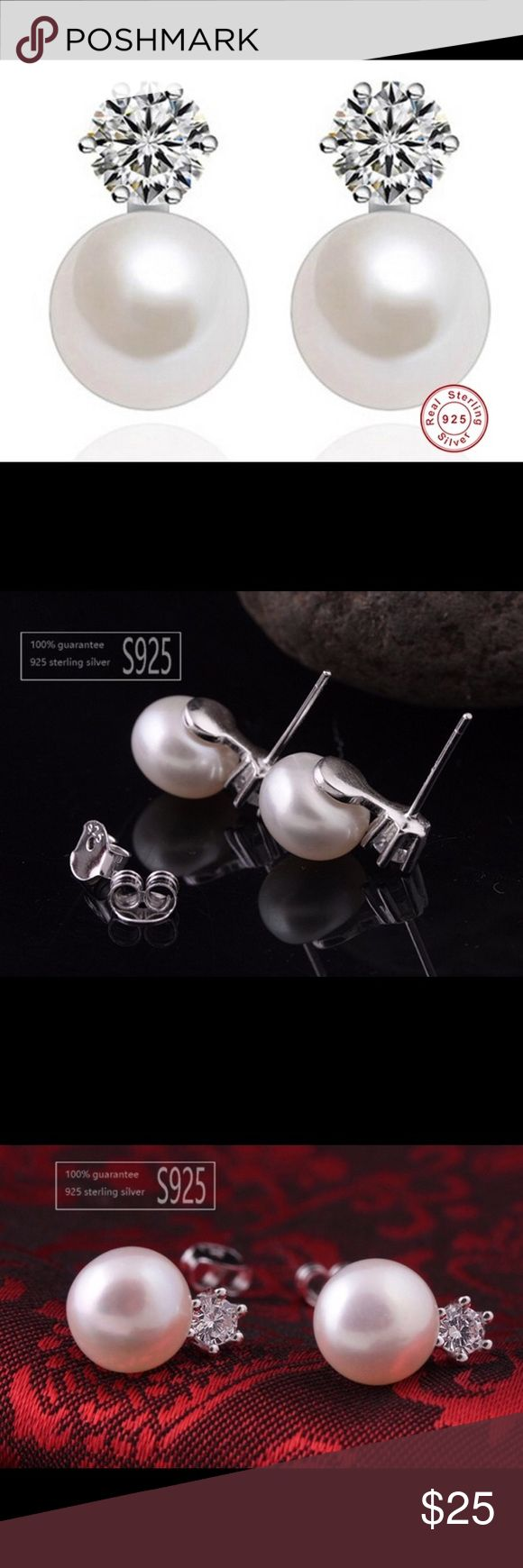 "100% Natural Pearl 925 Silver Stud Earrings Handmade Elegant 100% 9-9.5mm Natural Freshwater Pearl Solid 925 Silver Classic Princess CZ Diamond Stud Earrings   Colors: white pearl   Material:   100% AAAA top quality freshwater pearl, highly luster.  Pearl shape: semi round  Pearl size: 9-9.5mm Measure: 14mm/0.56""  100% high quality solid 925 sterling silver, 360 degree grinding & polishing w/ 3 times rhodium plating to achieve the white gold look and protect the jewelry   AAA top quality…"
