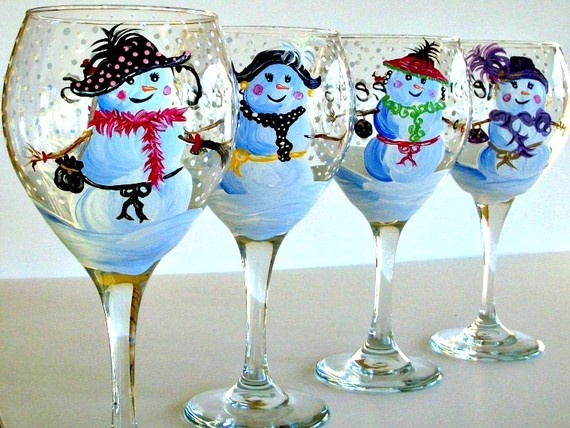Hand Painted Snowman wine glass with falling snow and by artrajes, $25.00