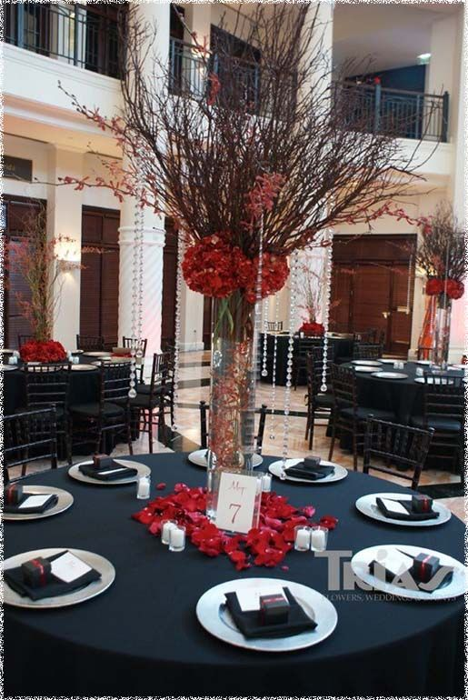 Decorations, Tall Centerpiece Idea For Red Theme Weddings  27663: Red Centerpieces for Weddings