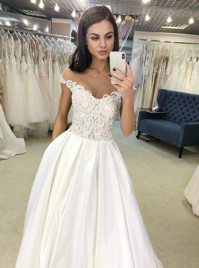 Elegant Off Shoulder Lace Wedding Dresses Simple Cute A Line Wedding Gowns Dresses Wedding Dresses Satin Wedding Dresses Ivory Lace Wedding Dress