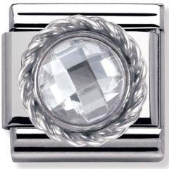 Nomination Charm - Round Sterling Silver & White CZ