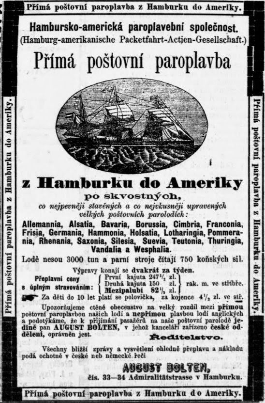 Czech Genealogy for Beginners: Cheap tickets to America! Ads in old newspapers