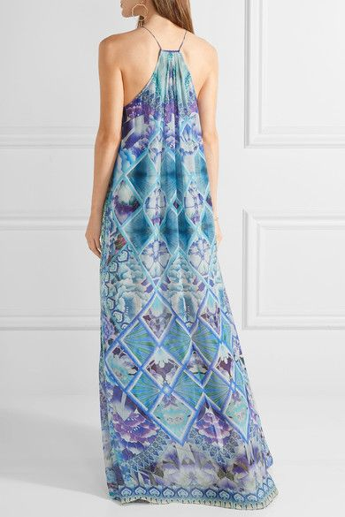 Camilla - Chinese Whispers Embellished Printed Silk-georgette Maxi Dress - Azure