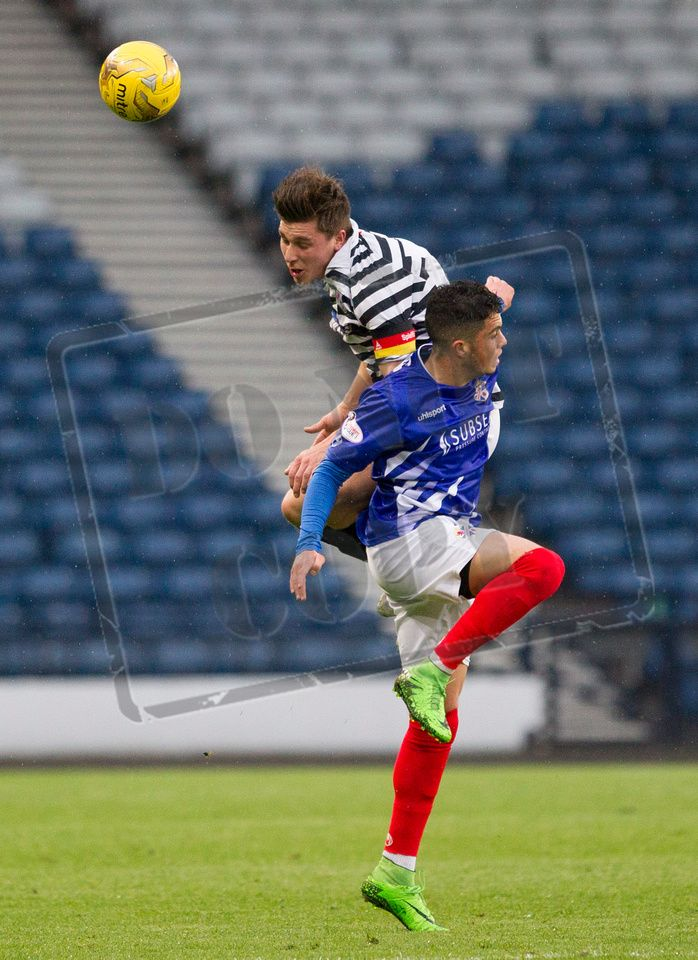 Queen's Park's Sean Burns wins the header during the SPFL League One play off game between Queen's Park and Cowdenbeath
