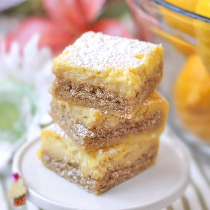 Healthy Homemade Lemon Bars made without the white flour, white sugar, butter and oil! (all natural, sugar free, high fiber, high protein, gluten free)