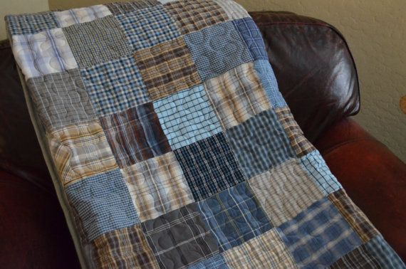 Quilt Blues Grays Browns UpCycle RePurpose by BarnRedQuiltworks