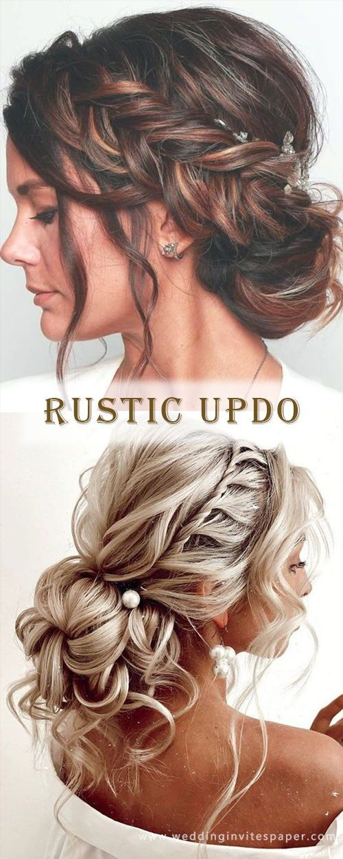 17 Enchanted Rustic Wedding Hairstyles---voluminous messy updo with braids for country backyard days, diy hairdos for long hair.
