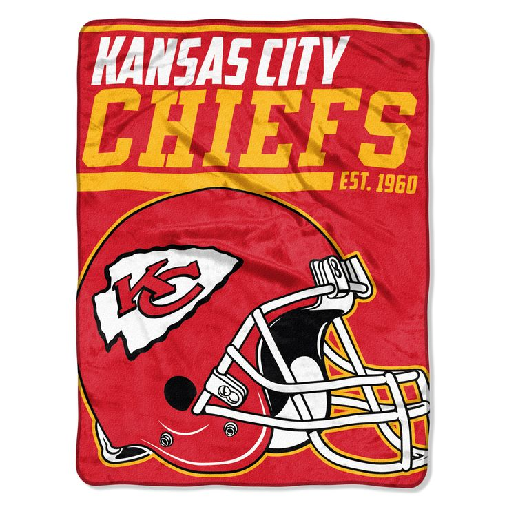 Kansas City Chiefs Blanket - Micro Raschel Throw - 46 in x 60 in - Rolled - 40 Yard Dash Style (backorder)