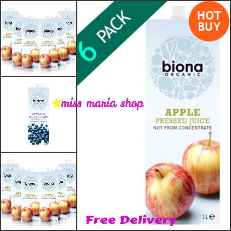 Biona Organic Juice Pressed Apple Juice Box 6x1Ltr Food Natural Vegetarian Bulk