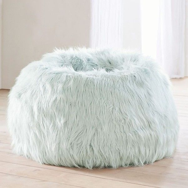 PB Teen Sky Blue Fur-rific Beanbag ($229) ❤ liked on Polyvore featuring home, furniture, chairs, fur chairs, fur bean bag, recycled furniture, bean bag and circular chair