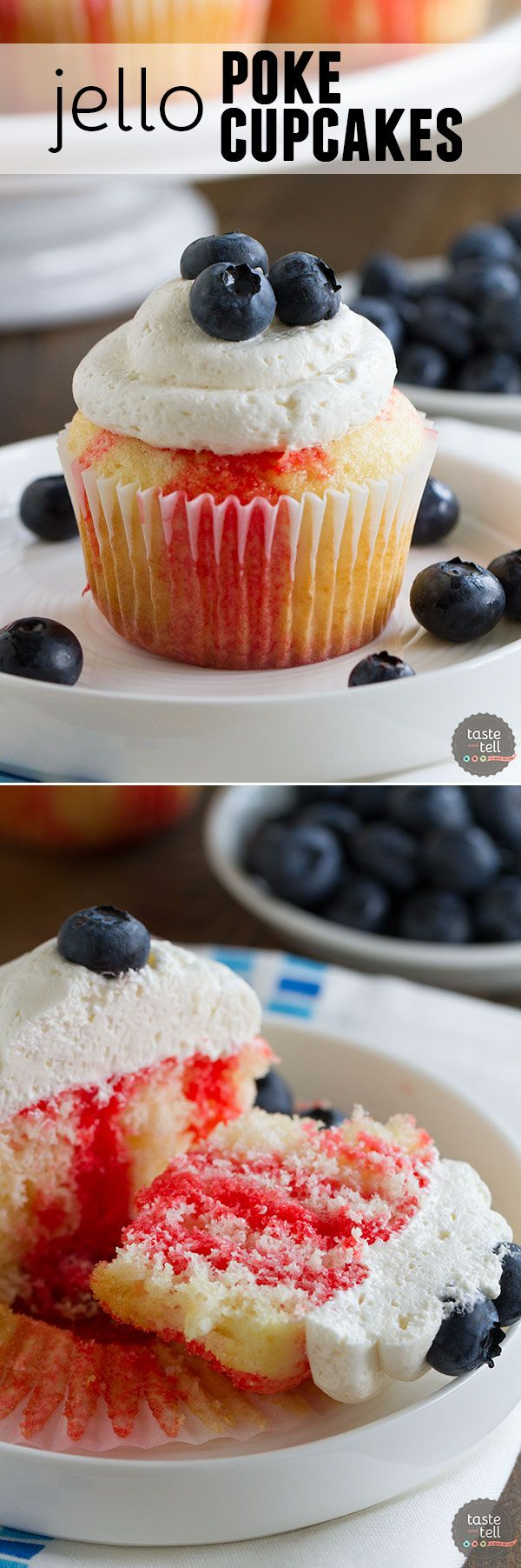 Cupcakes go patriotic with these Jello Poke Cupcakes that are streaked with red, then topped with white and blue. You can easily change the jello flavor and the topping for different holidays or flavors.