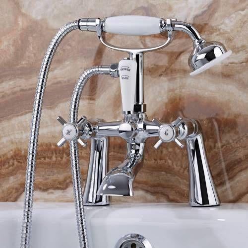 Nostalgische Badewannenarmatur zur Wannenrandmontage mit Handbrause  - Victoria