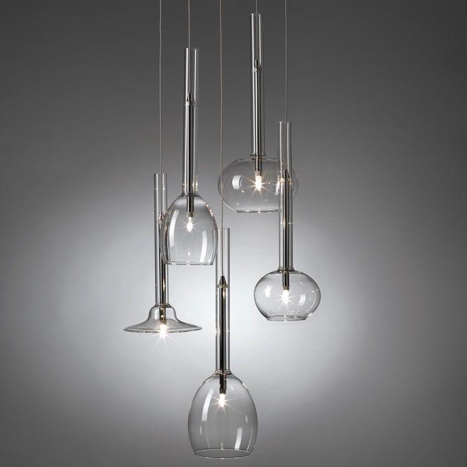 LAMPADARIO 'CLEAR' O1046 Lampadario Clear in vetro Dimensioni: 40x150 h. cm. Mascagni Casa
