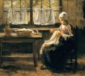 Jozef Israels (Dutch Realist Painter, 1824-1911) Young Girl Sewing