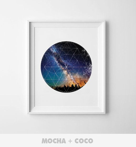 Geometric Polygon Space Art Poster, Office Wall Art, Startup Minimal Decoration, Printable Mocha + Coco, Intstant PRINT FILE DOWNLOAD