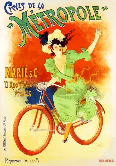 Six sizes from $29 TITLE: Cycles de La Metropole ARTIST: Lucien Baylac CIRCA: 1897 ORIGIN: France Fine art giclee print on heavy acid free archival paper using 100+ year fade resistant inks.