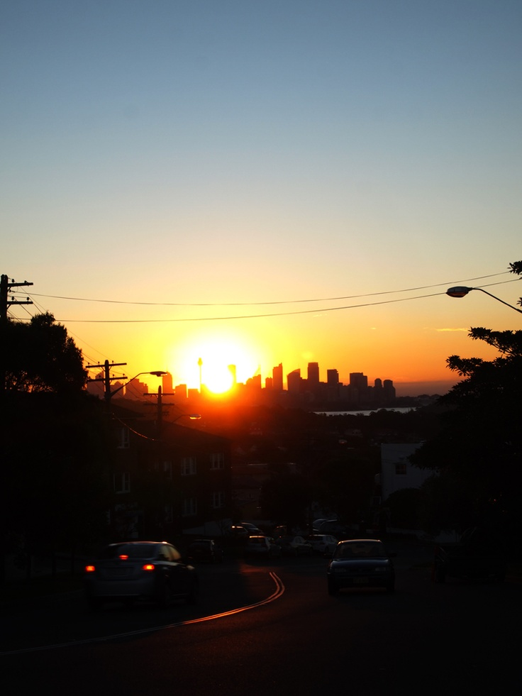 Walking along Old South Head Road facing Sydney's beautiful sunset :)