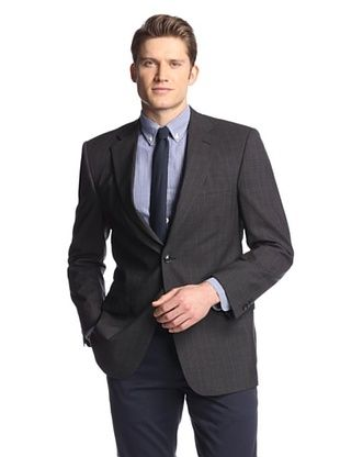 82% OFF hickey Men's 2 Button Side Vent Wide Striped Sportcoat (Charcoal)
