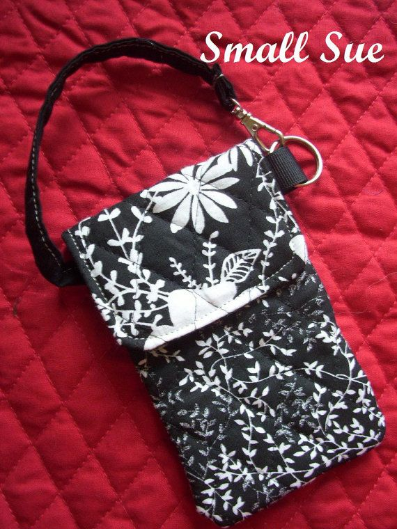 Black and White Fabric Cell Phone Case/Holder by BagsBeadsandMore, $9.00