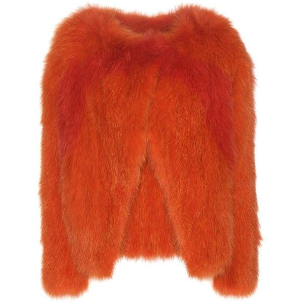 Vanessa Bruno Fox Fur Jacket ($2,350) ❤ liked on Polyvore featuring outerwear, jackets, fur, orange, tops, vanessa bruno jacket, fox fur jacket, vanessa bruno, red jacket and orange jacket