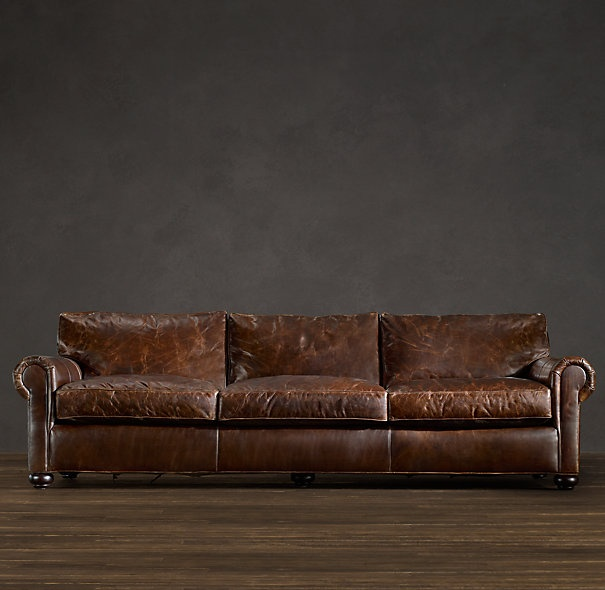 The Dream: Restoration Hardware Lancaster Leather Sofa 112 or 120 width  with 49 depth. I will someday sit on this in my own living room and not  just in ...