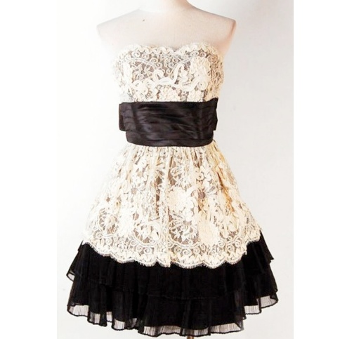 Betsey Johnson: White lace dress with black