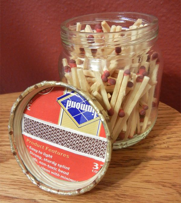 crafts with baby food jars   Baby Jar Match Stick Container
