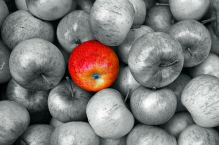 The Red Apple! - fruit, photography, black, white, red, apple