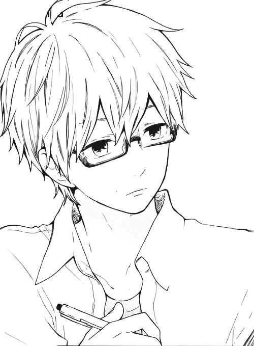 Line Drawing Glasses : Anime boy with glasses manga art pinterest