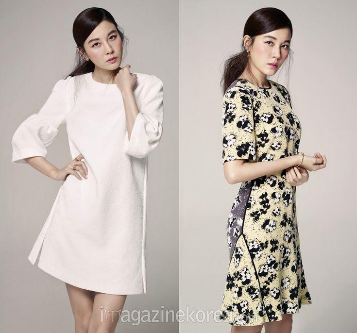 소매의 볼륨감이 돋보이는 드레스, 나뭇잎 모티프의 볼드한 이어 커프  화려한 패턴의 원피스
