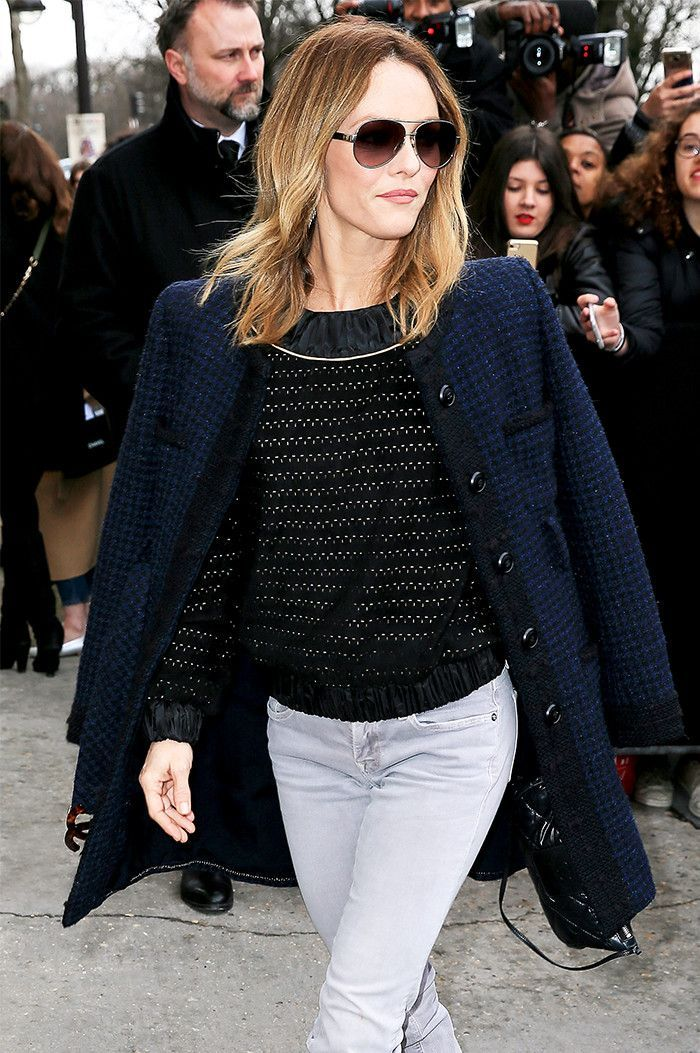 Vanessa Paradis rocks casual cool with a hint of luxury.  Get 40+ #style support at www.WorkingLook.com #maturista