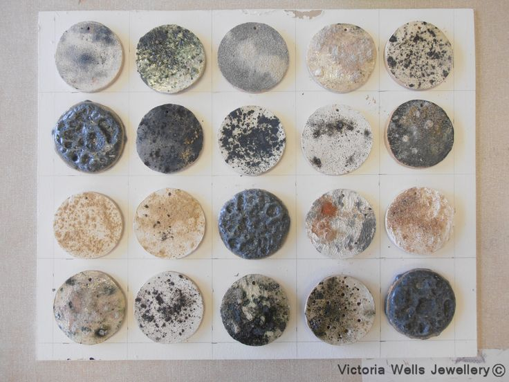Plague - Using oxides on clay to represent disease petri dishes  www.victoriawellsjewellery.co.uk