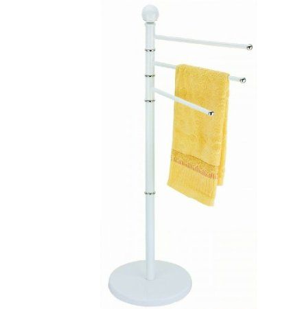 3 Arms Bathroom Towel Holder Rail Stand Floor Free Standing Rack White Kitchen