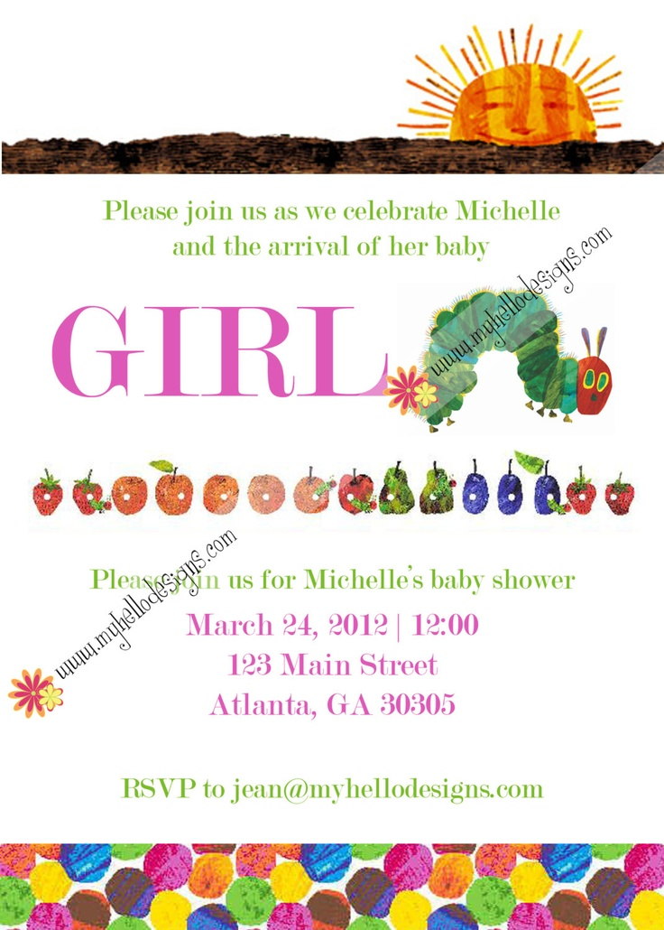 Baby Girl Shower Invitation Very Hungry Caterpillar