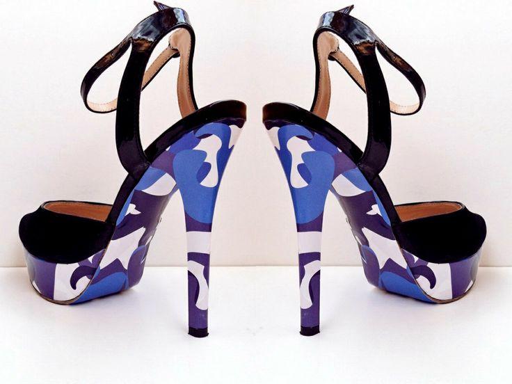 """""""Синий камуфляж"""" дизайн для украшения ваших любимых туфель, чтобы быть ВИДНЕЕ! ВЫШЕ! МОДНЕЕ!  #стильноукоговидно #ипустьвсеоглядываются #стиль #мода #красота #туфли #каблуки #стильно #модно #обувь #карманпринт"""
